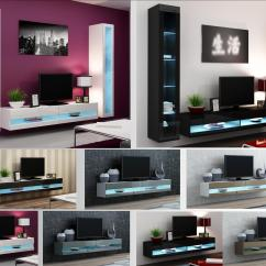 Tv Stand Living Room Decorating Ideas Brown Sofa High Gloss Furniture Wall Mounted Cabinet Led Lights