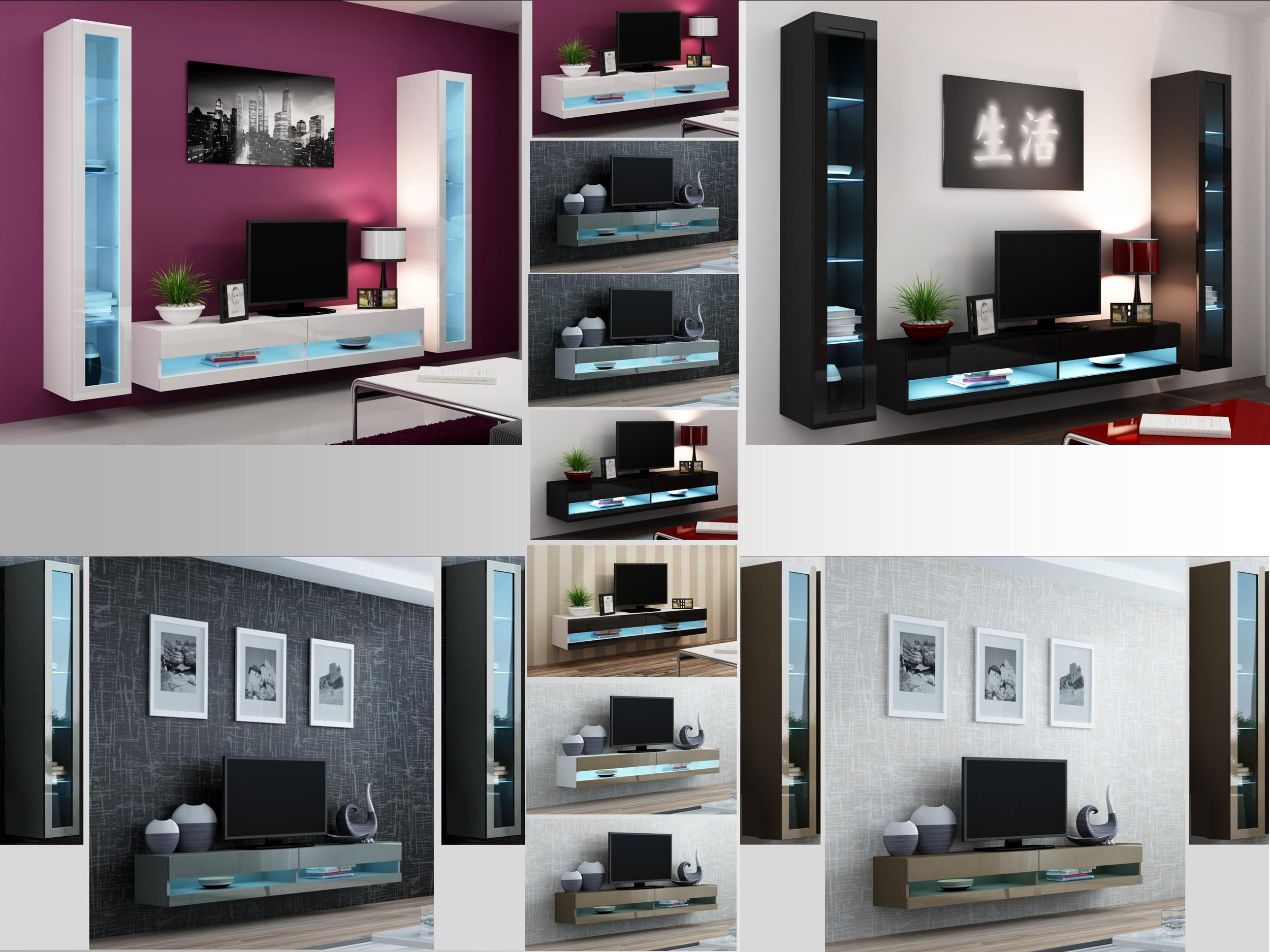 tv stand living room modern design high gloss set with led lights wall mounted cabinet