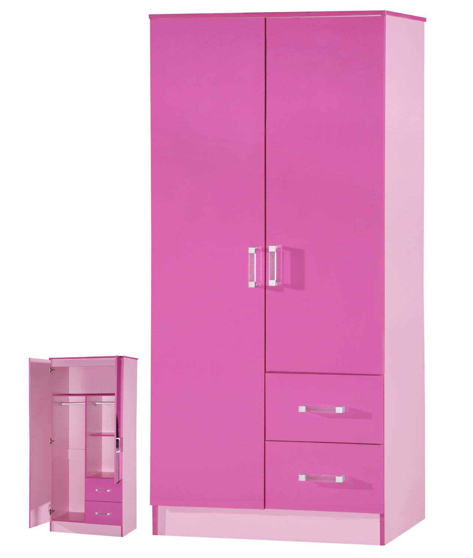 High Gloss Pink 2 Door 2 Drawer Wardrobe Marina Kids