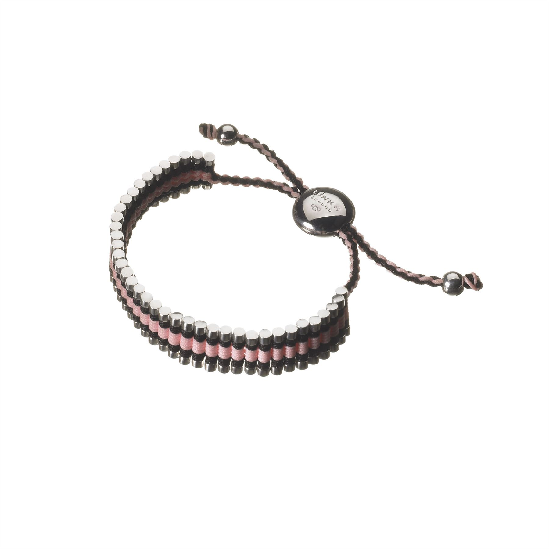 Links Of London Womens Black Pink Woven Cord Friendship
