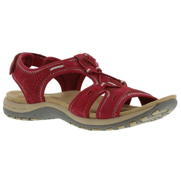 Earth Spirit Columbia Womens Red Leather Walking Sandals