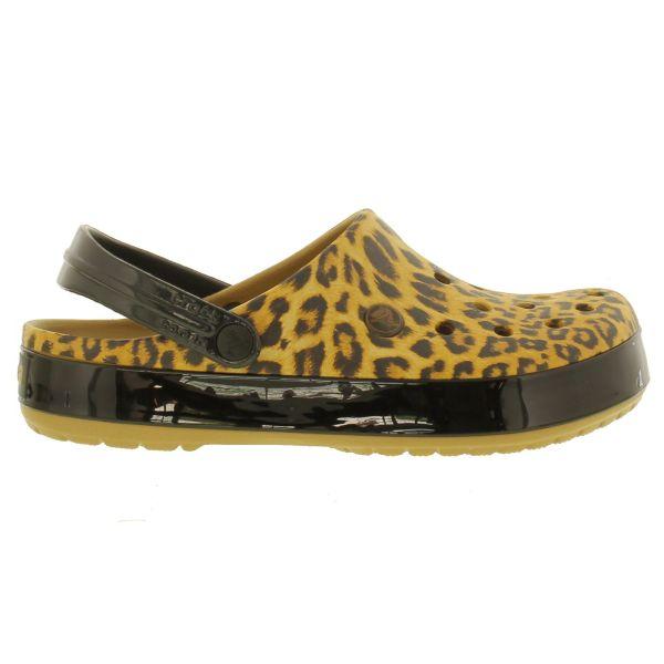 Crocs Crocband Leopard Womens Shoes Brown Pink Slip