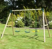 Rebo Neptune Wooden 3 In 1 Garden Swing Set - Double