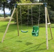 Rebo Children' Wooden Garden Swing Sets Single Baby