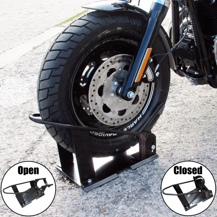 Tech 7 Motorcycle Motorbike Front Wheel Chock Holder Stay Stand 17
