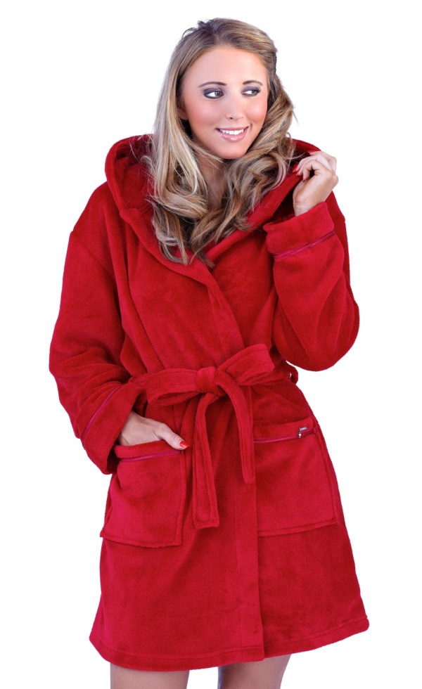 Womens Soft Hooded Short Bathrobe Dressing Gown Housecoat Ladies Girls Luxury