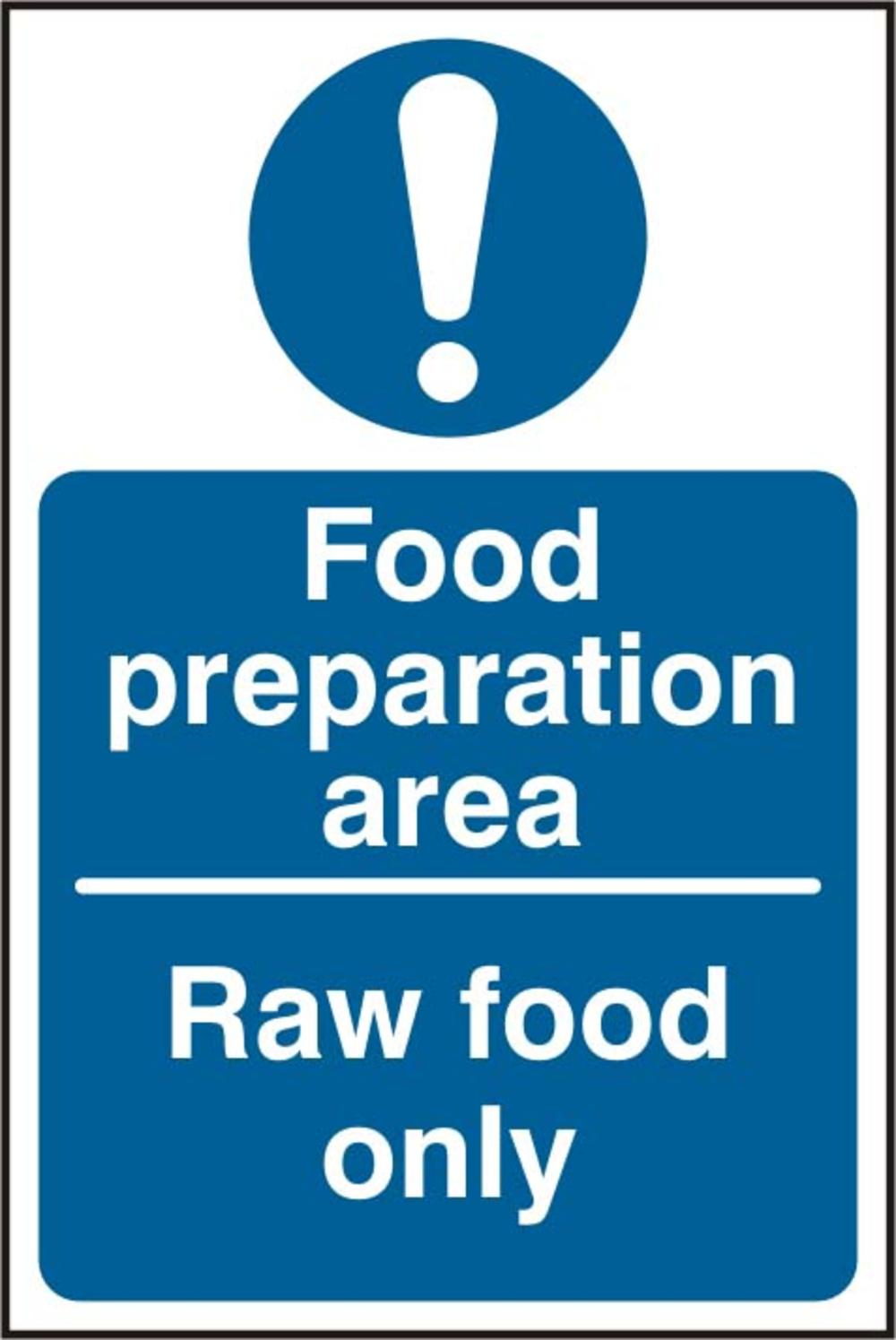 Food Preparation Area Raw Food Only Rigid PVC 100 X 150mm