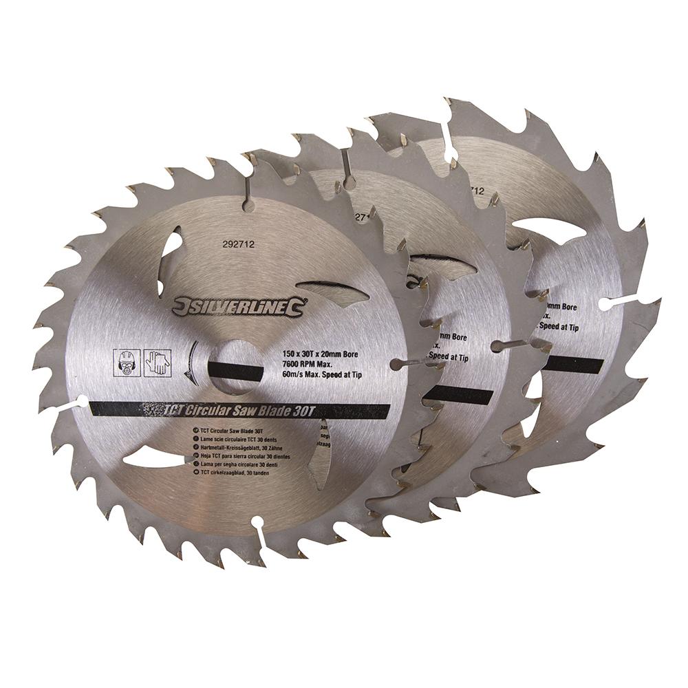 Silverline 292712 3 Circular Saw Blades 150mm Diameter