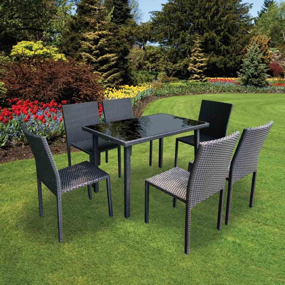 details about lucia 7 piece rattan table 6 chair chairs set garden patio outdoor furniture