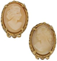 Vintage Florenza Genuinel Shell Cameo | Clip On Earrings ...