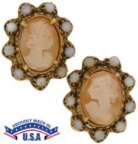 Designer Vintage Florenza Shell Cameo | Clip On Earrings ...