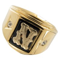 "Mens Black Onyx Initial Signet Gold Ge ""N"" 10 