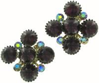 Vintage Big Purple Rhinestone Cluster Clip On Earrings ...