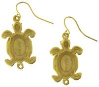 Chicos Green Enamel Turtle Pierced Earrings | eBay