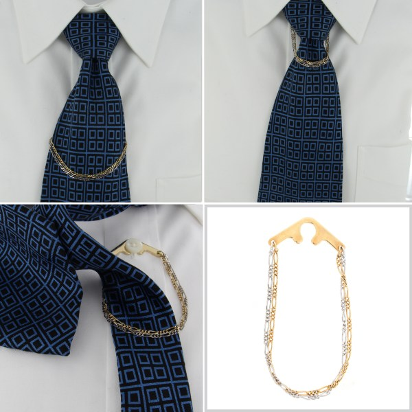 Foster Usa Tie Chain Two Tone Double Figaro Button Hole