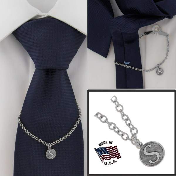 Ky & Usa Silver Tone Tie Chain Button Hole
