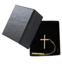 Men's Gold Tone Christian Cross Religious Tie Tac Tack Pin