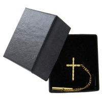 Men's Gold Tone Christian Cross Religious Tie Tac Tack Pin ...