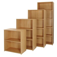 Beech Office Bookcase Wood Storage Shelving Unit Home ...