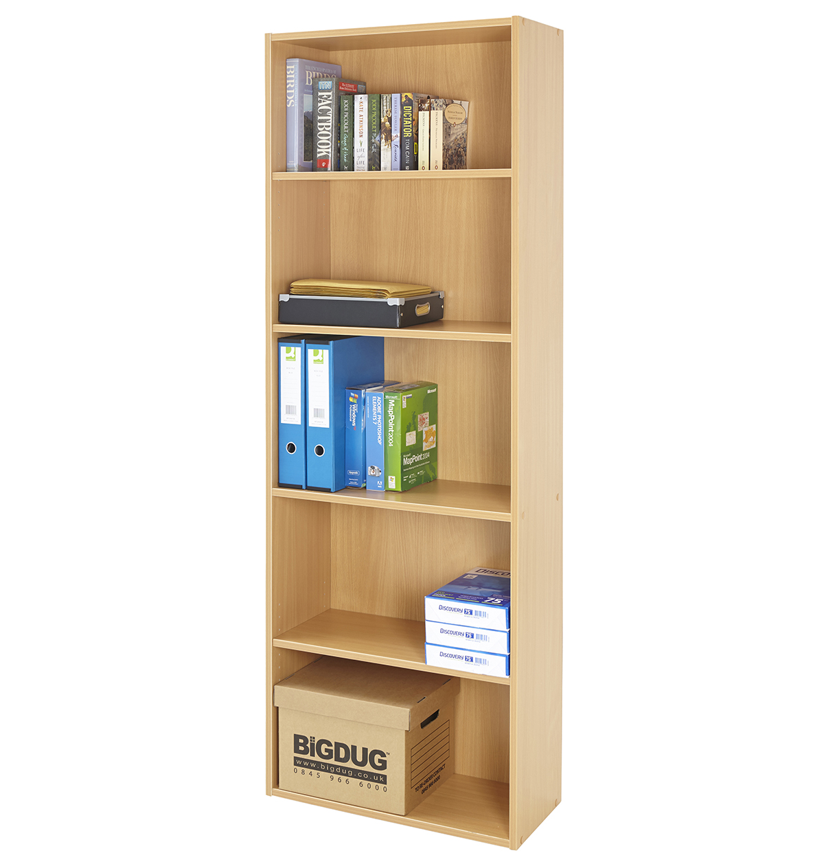 Bookcase Bookshelf Wood Beech 5 Shelf Storage Furniture