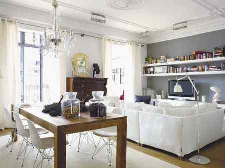 Interiores modernos en departamento antiguo