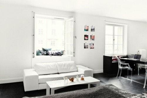 Living en blanco y negro  Decoracin en blanco y negro