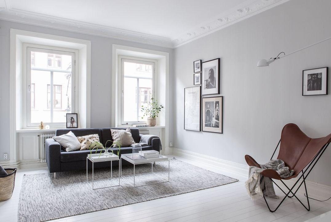 Interiores nrdicos en gris en un departamento de 2 ambientes