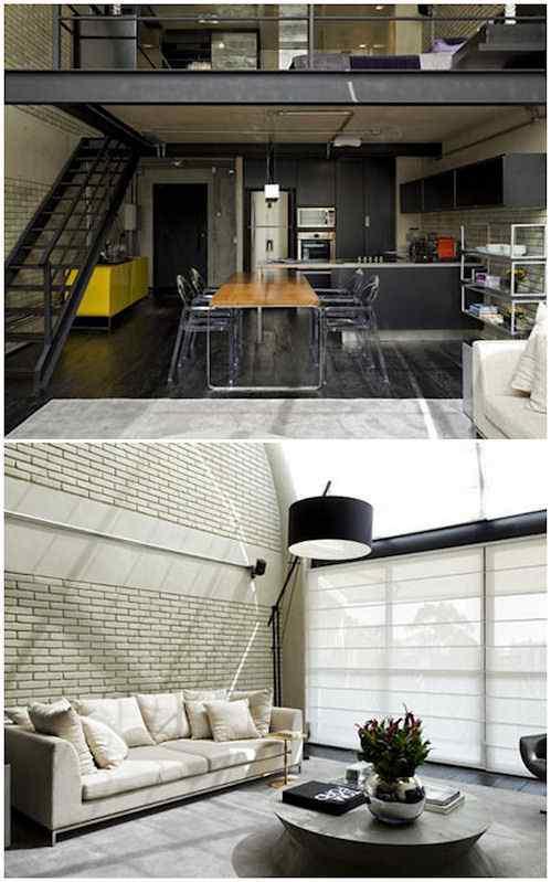 Interiores de un loft moderno en estilo industrial en Brasil