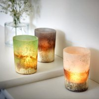 Frosted Dip-Dyed Votive Candle Holders - White, Dark Blue ...