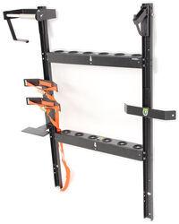 pack em rack for open utility trailers holds 6 shovels 1 blower 1 line spool 1 round cooler