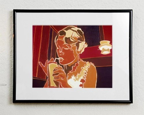 art print of woman in tiki bar