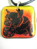 Iridescent Glass French Bulldog pendant