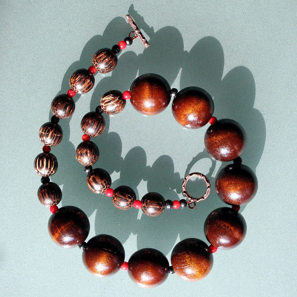Red Hot Wood Necklace