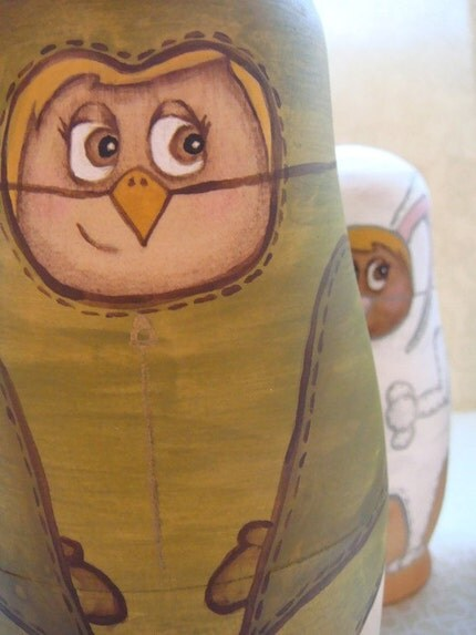 Nesting Dolls In Animal Costumes Original Hand Painted