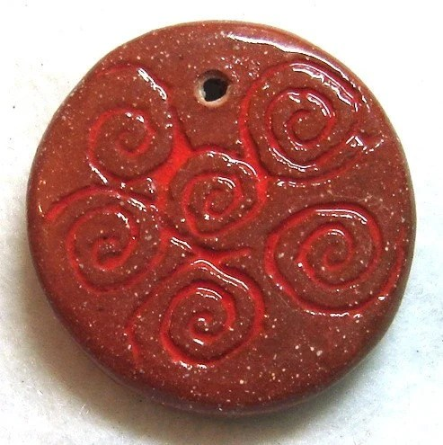 Orange Swirls Ceramic Pendant