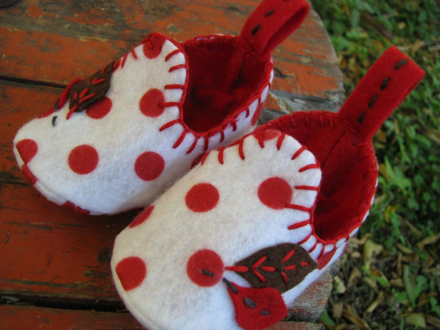 White and Red Polkadot Booties