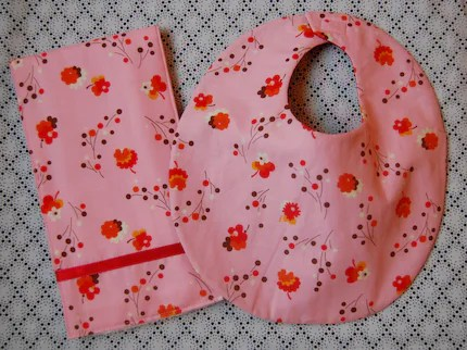 Pink Flea Market Flowers bib and burp cloth set