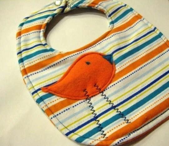 Orange Bird in the Stripes Bib