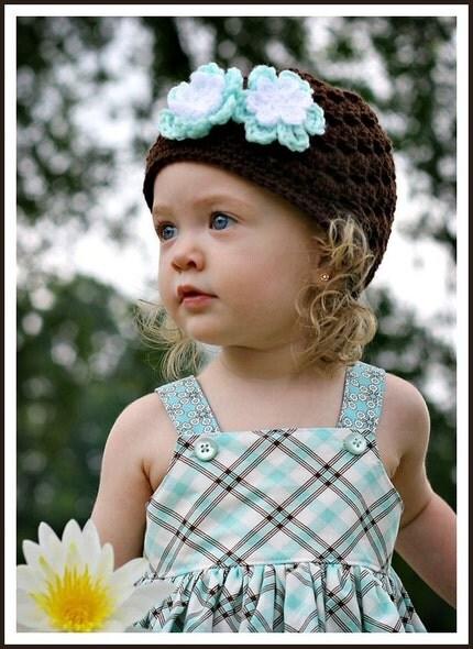 Brown with Aqua Crochet Hat Beanie