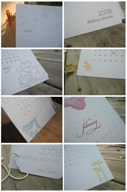 2008 calendar, letterpress, engraved, embossed