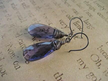 Wire Wrapped Amethyst Quartz Earrings