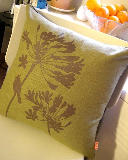 New Arrival Olive Cardinal on Agapanthus 17 Square Linen Pillow