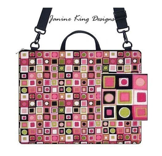 LAPTOP BRIEFCASE w/ zipper pkt for accessories in Mod Boxes pink