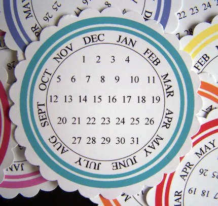 COLORFUL CALENDAR TAGS roygbiv Strikes Again  FREE COMBINED SHIPPING