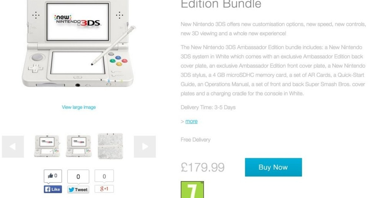 Surprise! New Nintendo 3DS Ambassador Edition goes on sale