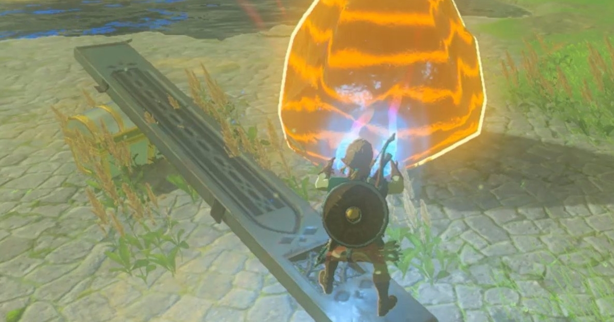 Watch You Can Make A Link Catapult In Zelda Breath Of