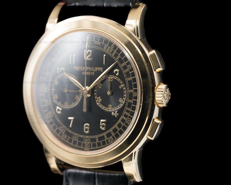 (29757) Patek Philippe 5070J-001 5070 Yellow Gold Chronograph Black Dial