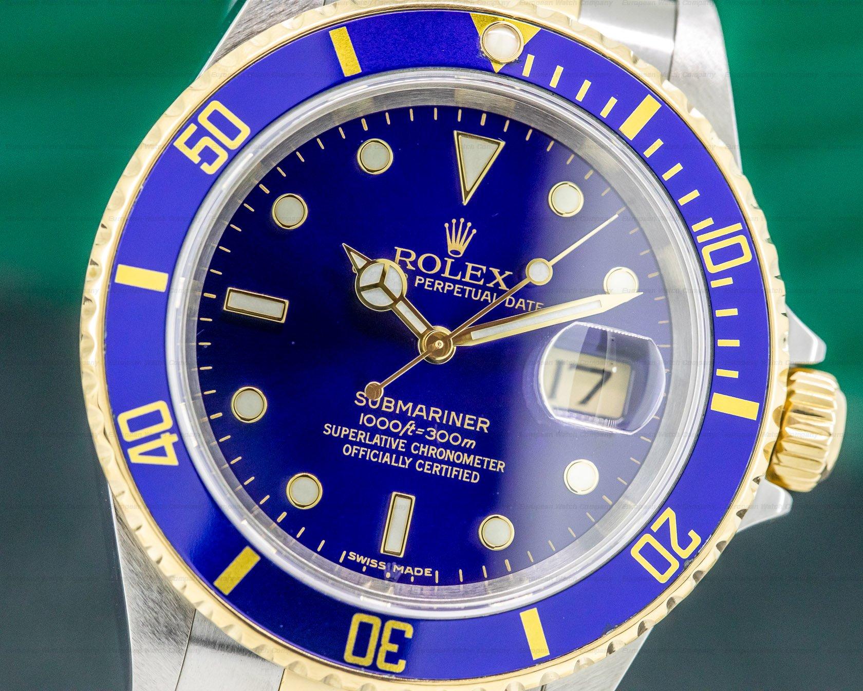(33139) Rolex 16613 Submariner Blue Dial SS / 18K