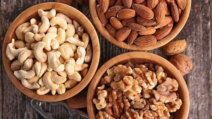 bowls of nuts, which can be a good snack for people with depression