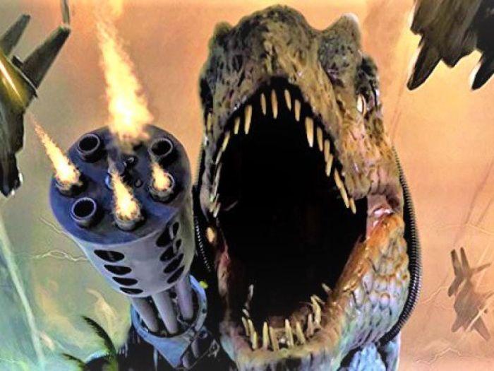 Ecco Jurassic Thunder: trash, dinosauri con fucili sulla testa, zombie e... Donald Trump!